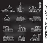 set of thin line icon suburban... | Shutterstock .eps vector #679524064