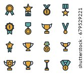 vector flat trophy and awards... | Shutterstock .eps vector #679529221
