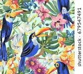 vector tropical summer seamless ... | Shutterstock .eps vector #679547491