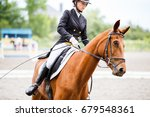 young rider girl on sorrel... | Shutterstock . vector #679548361
