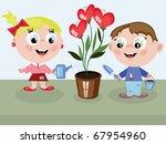 children watering flower  hearts   Shutterstock . vector #67954960
