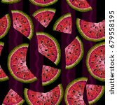 water melons embroidery... | Shutterstock .eps vector #679558195