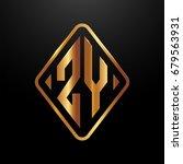 golden monogram logo curved... | Shutterstock .eps vector #679563931