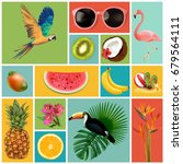 summer set with holiday... | Shutterstock .eps vector #679564111
