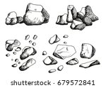 large stones set. hand drawing. ... | Shutterstock .eps vector #679572841