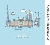 line icon style dubai city... | Shutterstock .eps vector #679575649