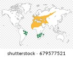 an outline of the world with... | Shutterstock .eps vector #679577521