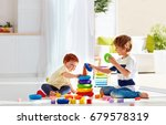 elder brother playing with... | Shutterstock . vector #679578319