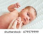 portrait of newborn baby girl... | Shutterstock . vector #679579999
