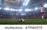 soccer player makes a dramatic... | Shutterstock . vector #679583575
