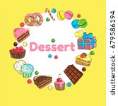 frame of sweets. set of candy...   Shutterstock .eps vector #679586194