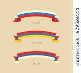 ribbon with flag of russia ... | Shutterstock .eps vector #679586551