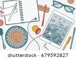 top view illustration of a desk ... | Shutterstock .eps vector #679592827