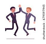 businessmen high five jumping.... | Shutterstock .eps vector #679597945