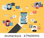 hand holding smart phone with... | Shutterstock .eps vector #679600441