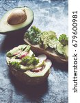 toast with avocado toned photo | Shutterstock . vector #679600981