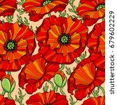 seamless pattern with red poppy ... | Shutterstock .eps vector #679602229