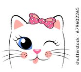 cute white kitten with pink bow.... | Shutterstock .eps vector #679602265