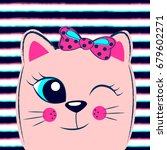 cute pink kitten with pink bow... | Shutterstock .eps vector #679602271