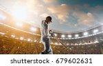 cricket batsman in action on a... | Shutterstock . vector #679602631