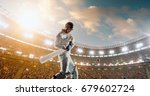 cricket batsman in action on a... | Shutterstock . vector #679602724