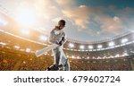 cricket batsman in action on a... | Shutterstock . vector #679602724
