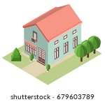 house and trees in the... | Shutterstock .eps vector #679603789