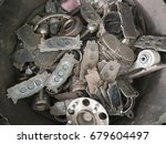 the bulk of used brake pad and... | Shutterstock . vector #679604497