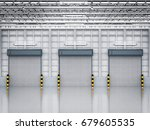3d rendering warehouse interior ... | Shutterstock . vector #679605535