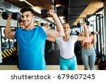 group of friends exercising... | Shutterstock . vector #679607245