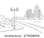 street road graphic black white ... | Shutterstock .eps vector #679608094