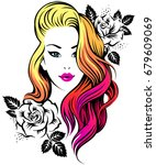 young beautiful girl with... | Shutterstock .eps vector #679609069