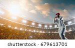cricket bowler in action on a... | Shutterstock . vector #679613701