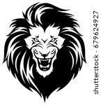 head of roaring lion. black... | Shutterstock .eps vector #679624927