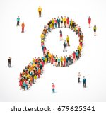 large group of people stand in... | Shutterstock . vector #679625341