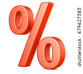 3d render  red percent isolated ... | Shutterstock . vector #679627585