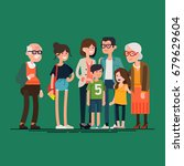 big modern family vector flat... | Shutterstock .eps vector #679629604