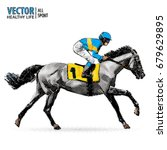 Stock vector jockey on horse champion horse racing hippodrome racetrack jump racetrack racing horse sport 679629895