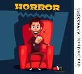horror in the cinema. cartoon... | Shutterstock .eps vector #679633045