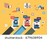 hand holding smart phone with... | Shutterstock .eps vector #679638904
