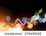 Small photo of business ideas concept with blue bokeh background with graph icon analysis display