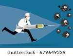 running doctor with a syringe... | Shutterstock .eps vector #679649239