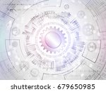 radial circuit board. hi tech... | Shutterstock .eps vector #679650985