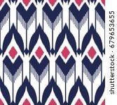 ikat seamless pattern design...   Shutterstock . vector #679653655