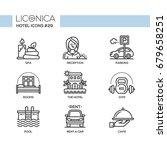 hotel   modern vector flat line ... | Shutterstock .eps vector #679658251