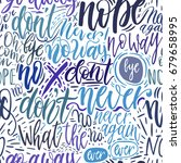 hand lettering doodle seamless... | Shutterstock .eps vector #679658995