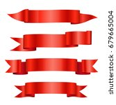 set of red vector shiny ribbon... | Shutterstock .eps vector #679665004