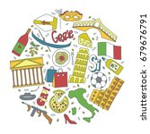 hand drawn icons with italy... | Shutterstock .eps vector #679676791