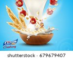 oat flakes with fresh cranberry ... | Shutterstock .eps vector #679679407