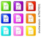file dwg icons of 9 color set...